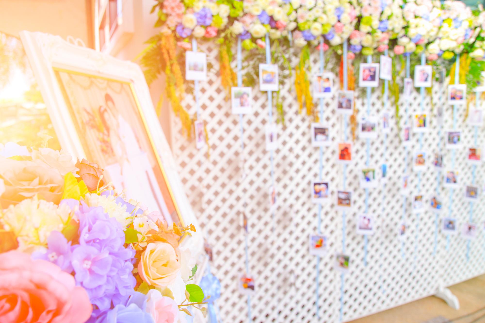 Blur Wedding party flower decoration for background.